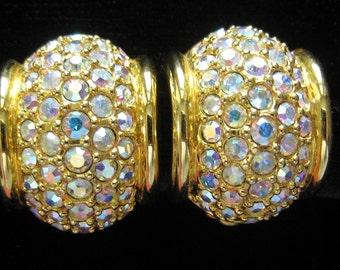 CLEARANCE SWAROVSKI AB Crystal Rhinestone Pave Hoop Vintage Earrings in Rich Gold Tone. Designer's Swan Mark Inside.