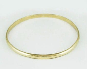 4mm Solid 10k Gold Half Round Bangle - 4 x 2 mm - Simple Gold Bracelet - Engraveable Personalized Gold Bangle