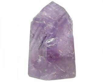 Purple Amethyst Tower with Rainbows, Polished Natural Gemstone Obelisk, Purple Rock Crystal Prism, Semiprecious Gem Wand, Talisman Carving
