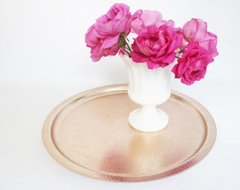 Rose Gold Round Embossed Aluminum Tray