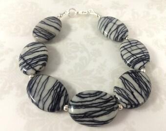 Zebra Stone and Sterling Silver Bracelet
