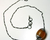 Copal Amber Necklace, Tibetan Amulet Necklace, Bohemian Bead Necklace, Silver Plated Bead, Black Chain Necklace