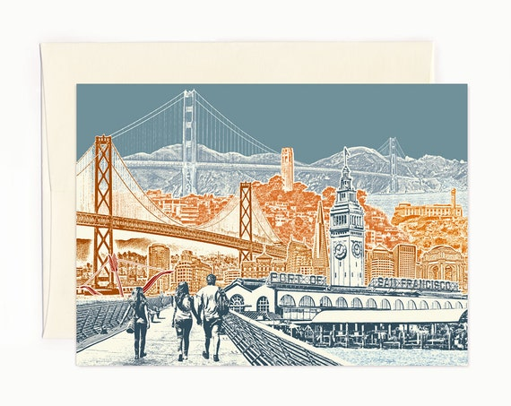 San Francisco Bay View Notecard - full color - California - folded Greeting Card