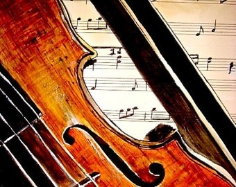 Violin Print - Take Note Violin, Fiddle, Orchestra, Strings Watercolor Painting Art Giclee Print, Home Decor, Wall Decor