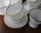 Fire King Mugs Anchor Hocking Coffee Mugs Vintage Teacups American Retro kitchen Vintage White Gold Tea Set Creamer Sugar Bowl Mod Tea Party