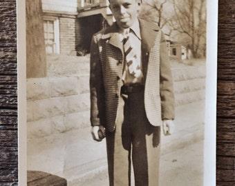 Original Antique Photograph Stick Your Tongue Out Sonny 1947