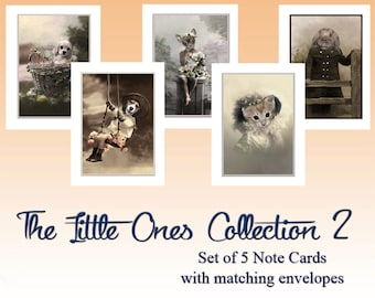 The Little Ones Collection 2, Animal Note Cards, Blank Note Cards, Anthropomorphic, Whimsical Note Cards, Greeting Cards, Vintage Art Cards