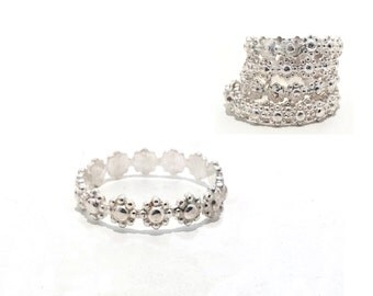 Silver Stacking  Rings / Thin Stacking Rings / Ring Stack Set / Silver Stack Ring / Handmade Silver Floral Ring Band