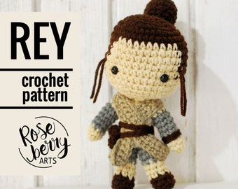 Rey Crochet Pattern - Instant Download - Rey from Star Wars - Amigurumi Plush Doll CROCHET PATTERN ONLY
