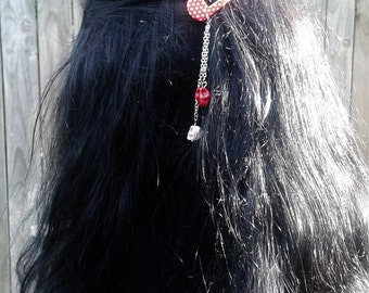 Spotty dotty red and white - Dangly skulls hair clips