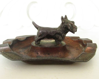 Vintage Cast Iron Copper Scottie Dog Ash Tray 1930s 1940s