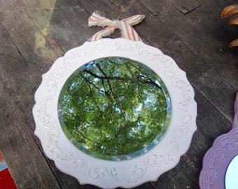 Mirror, Mirror Dish, White Plate, Mirror Plate, Dish with Mirror, White Ceramic Dish, Round Plate Mirror, Plate with Ribbon, Coastal, Beach