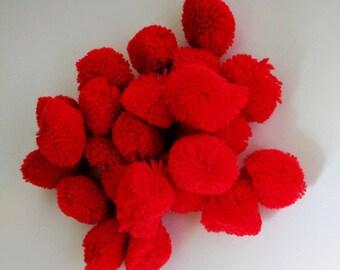 Red Medium Pom Poms 25 - Colors Craft Supply Pompoms - Hanging Pom Poms - Party Pom Poms - Yarn Pompoms Handmade Mini Pom Poms