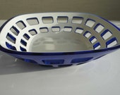 Vintage Guzzini Blue Bowl Italian Design Bread Bowl