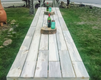 Long Farmhouse Table - rustic wedding, wedding venue, farm table, harvest table, banquet, patio, picnic, barn, farm, country wedding