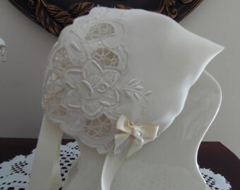 Handkerchief Baby Bonnet Heirloom Magic Hanky IVORY bonnet 100% SILK Open-CUT corner Embroidered flower baby shower Christening just to wear