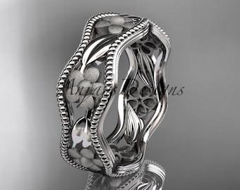 14k white gold flower wedding ring,engagement ring, wedding band. ADLR190G
