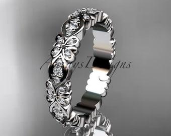 14kt  white gold floral diamond  wedding ring,engagement ring,wedding band  ADLR122