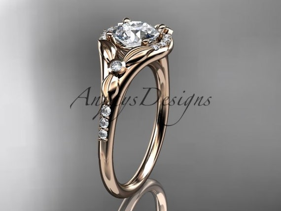 14kt rose gold diamond floral wedding ring, engagement ring ADLR126