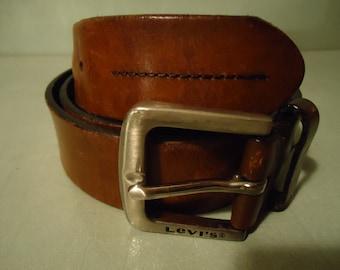 Vintage 1990s  Levi Full Grain Brown Distressed Leather Unisex Belt