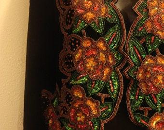Vintage Gypsy Boho Hippie Chic Senorita Black Light Suede Embellished Sequin Matador Jacket