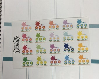 40-50% OFF SALE - Water Flowers Garden Planner Stickers, Gardening Stickers, Gardening Planner Stickers, set of 20
