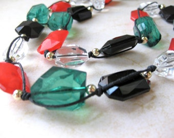 Long Necklace Red Large Beaded Green Clear Faux Gold Black Cording Easy Clasp Statement Fashion Jewelry