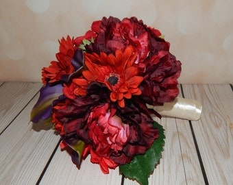 Peony Bouquet- Silk Peony Bouquet, Succulent, Gerber Daisy, Calla Lily, Rose and Hydrangea Bouquet, Boutonniere, Made To Order