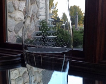 Glass Hurricane Candleholder with Sailing Ship