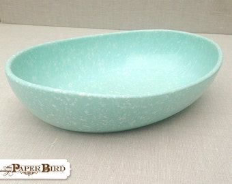 Melmac Serving Bowl Dish Turquoise with White Speckles Mid Century Modern