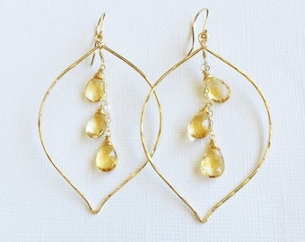 Citrine lotus hoop earrings - Citrine earrings - November birthstone earrings (E257)