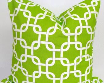 GREEN Pillow Sale, 14X14 inch Green Pillow Cover, Decorative Pillow, Green Throw Pillow,Chainlink Pillow,Green Pillow Cover. Green Cushion