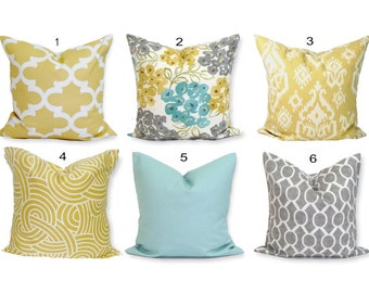 Teal YELLOW Pillow Cover All Sizes, Gray Pillow, Pillow, Floral Pillow, Decorative Pillow, Gold, Gray, Blue .All Sizes, Euro, Floral Cushion