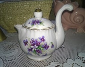 Beautiful Little Unique Handled Teapot Ucagco-China Violets On the Front