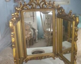 SUMMER SALE >>>>>Spectacular Rare Find Syroco Tri-Fold Mirror, Shabby Chic, Dresser Accessory, Baby's Room, Ornate Mirror, White Distre