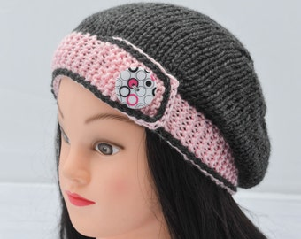 Knit Button Band Tam Slouchy Hat Pink and Gray One Size Ladies Teens Fashion