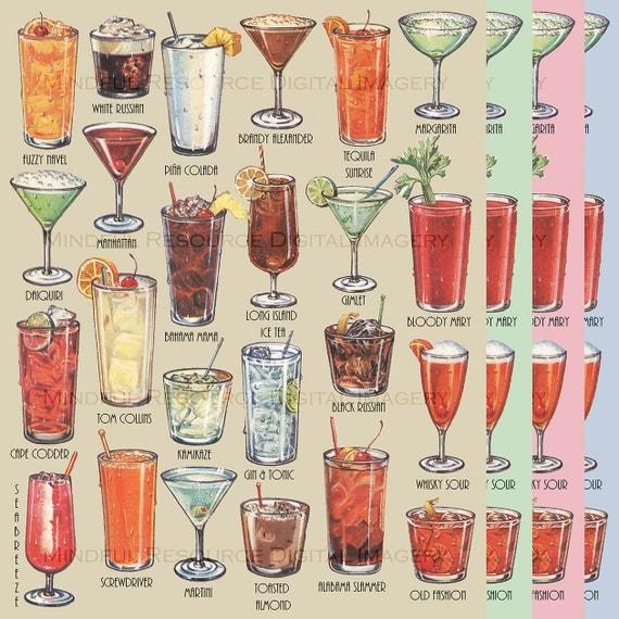 Retro Cocktails Art Poster Mid Century Art by mindfulresource