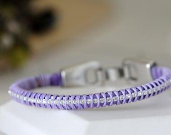 Purple Leather Bangle Bracelet w/ Diamond Swarovski Crystals | Lavender Leather Wrapped Crystal Bracelet | Artisan Jewelry by Girlthree
