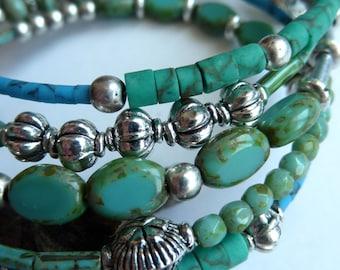 Bracelet, Turquoise Beaded Memory Wire Bracelet, Multi Beaded Green Turquoise Bracelet, Boho Style Blue Green Memory Wire Bracelet