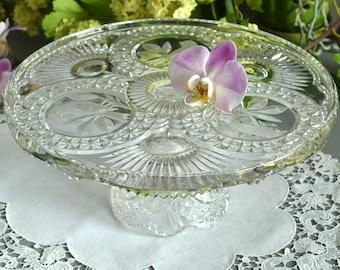 Glass Cake Plate Bird Cake Stand Cut Glass Cake Stand Patterned Cake Stand Glass Cake Stand Wedding Cake Stand Bird Decor Bird Cake Stand