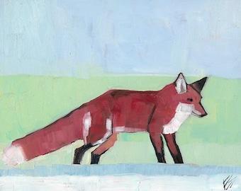 Fox In Winter Original Oil Painting