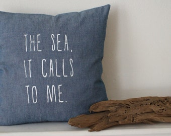 nautical pillow | sea pillow cover | indigo chambray pillow | chambray pillows