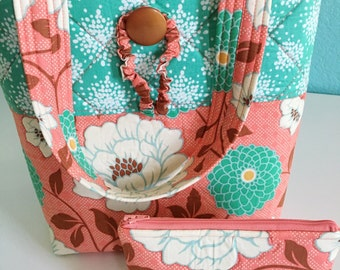 Quilted Tote Bag, Coral Tote, Coral Purse, Coral and Teal, Floral Fabric, Roll Up Tote, Zipper Pouch
