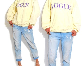 1980s Vintage VOGUE Light Yellow Oversized Sweatshirt . Medium