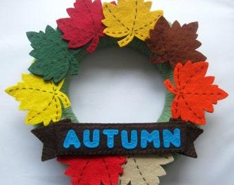 Handmade Felt Fall Autumn Wreath - Autumn Leaves Fall Colours Yarn Wrapped Wreath