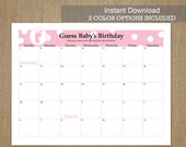 FEBRUARY DUE DATE Guess Baby's Birthday - Calendar Game - 2016 - Pink and Blue