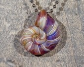 Purple and Tan Ammonite Borosilicate Pendant