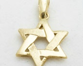 RESERVED Vintage 14k yellow gold Jewish Star David Woven brushed Judaica Estate RESERVED