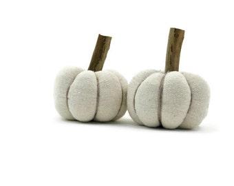 Home Halloween Decor, Linen Fabric Pumpkin, Beige Fabric Pumpkin, Fall Country Home Accent - set of two