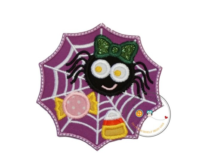 Creepy girl spider in a purple web full of Halloween candy iron on applique, Halloween iron on fabric patch for DIY boutique fashions